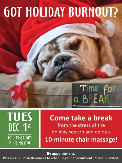 Massage Day flier-holiday burnout