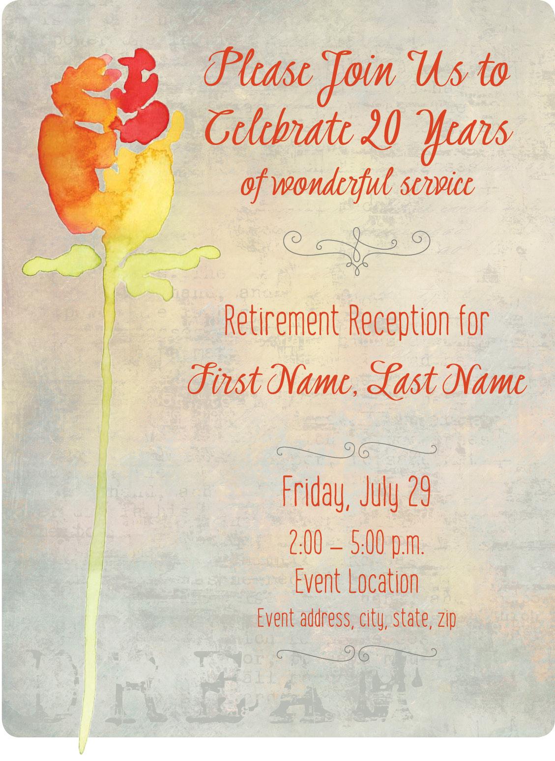 invitation for retirement reception